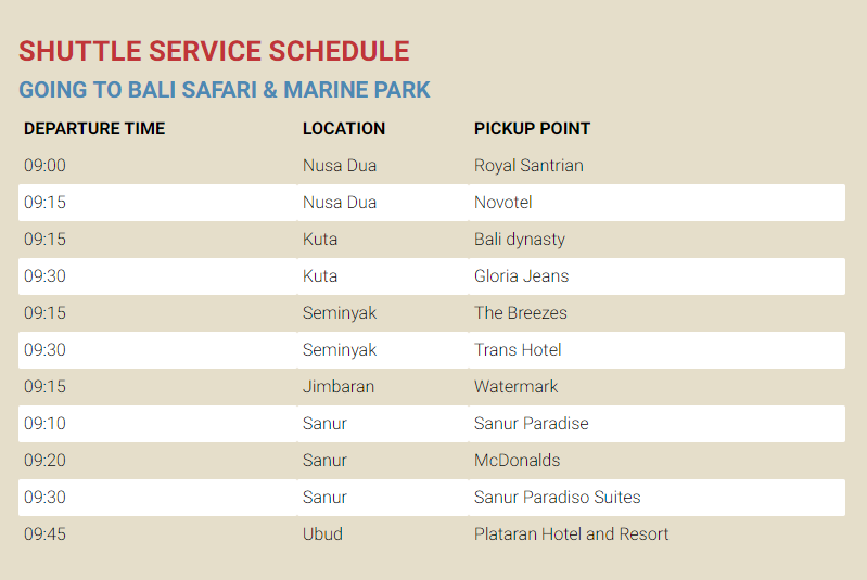 Bali Safari Shuttle Service Schedule